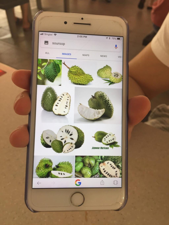 果物の種類を説明してくれる友人