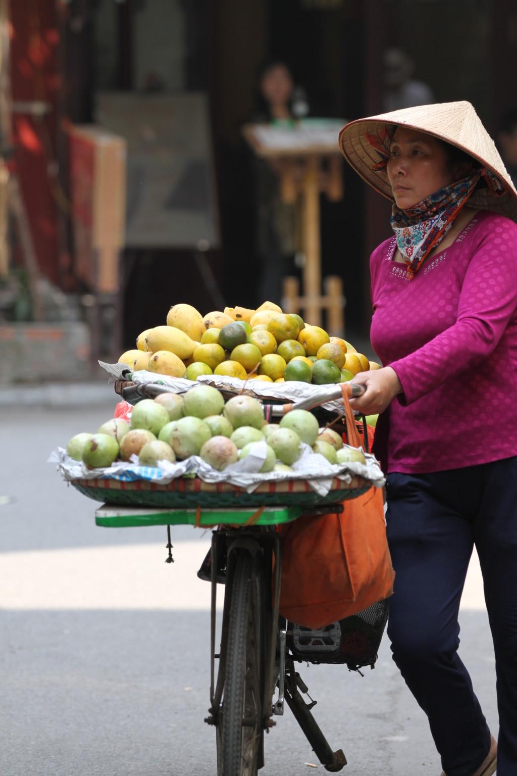 果物売り。ベトナム女性は働き者