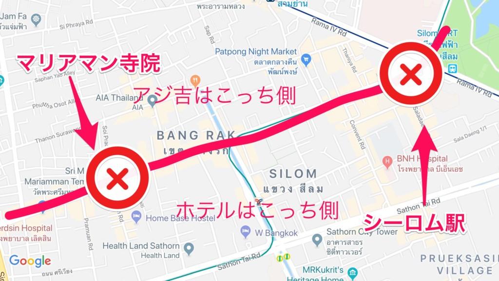 赤線が「祭りパレード」で完全にバリケードされ、横断不可能。ホテル側へ、どうアミダクジやっても、戻れなかった……