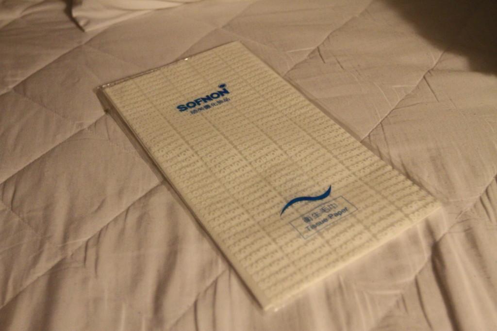 タオルを借りようとしたら、使い捨ての紙タオルを十元か二十元で購入する仕組みだった