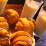 パン、トウモロコシ豆乳
