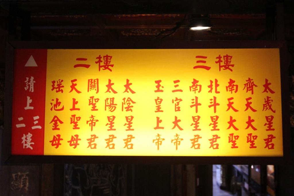 カミサマの「集合住宅」にある「表札」(艋舺青山宮にて)